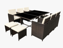 11PC Dining Set Brown