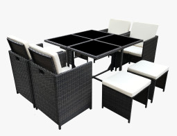 9PC Dining Set Brown